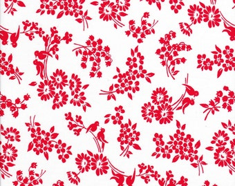Bird Fabric - Floral Fabric - Pam Kitty Love Fabric - Red Fabric - Lakehouse Fabric