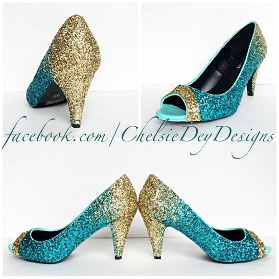 glitter high heels teal turquoise aqua blue by