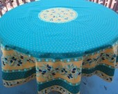 Round cotton tablecloth olives in green