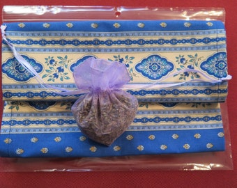 Cotton napkins.Cloth napkins. Set of 2 napkins.Fabric from Provence,France.Esterel in blue . heart shape sachet.Dry French Lavender .Gift.