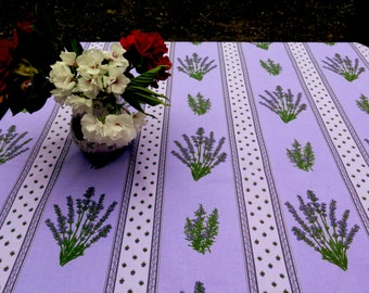 Cotton coated rectangular tablecloth,oilcloth.Fabric from Provence,France. Lavender in purple.Matching napkins available bread basketrunners