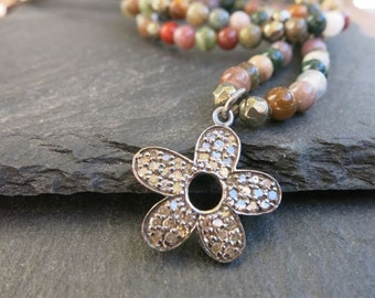 Pave Diamond Flower Pendant on leather, Diamond flower beaded leather necklace  multicolor agate,bohemian hippie 70s style,beachy coachella