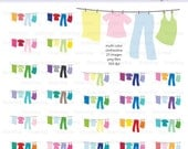 Multicolored Laundry on Clothesline Digital Clipart - Instant download PNG files