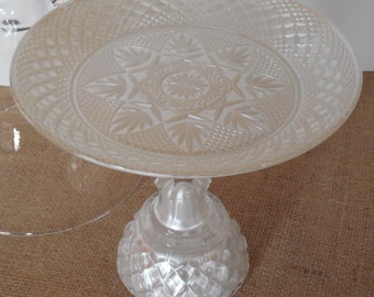 Glass cake stand / Small Cake Stand / White Cake Stand / Cupcake Stand / White Dessert Stand
