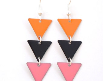 """Earrings """"Pennant coral black and pink"""""""