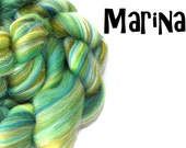 Blended Merino wool tops - Milk fibre - Firestar -  Roving - 100g - 3.5oz - MERINO MARINA - Sparkle fiber - Shimmer fiber