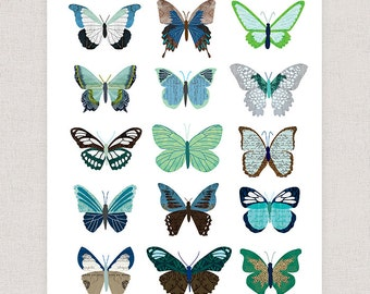 Green and Blue Butterflies - Collage Illustration Art Print Poster - Wall Art Print