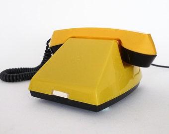 Soviet Vertushka CCCP Phone / Yellow Plastic Analog Dial-less Phone