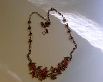 Enameled Brass Leaf Necklace With Vintage Glass Leaves