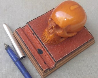 Antique Skull Pen Holder, Hand Carved, Gothic, Mid Century