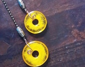 Fan Pull Deep Bright Yellow Fused Glass on Bronzetone Ball Chain Ceiling Fan Light Pull pair CLEARANCE