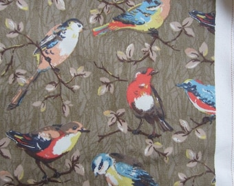 """1/2m Cath Kidston. Cotton Upholstery Fabric. Garden Birds Taupe. 146cm Wide. (19"""" x 57"""") Heavy Canvas."""