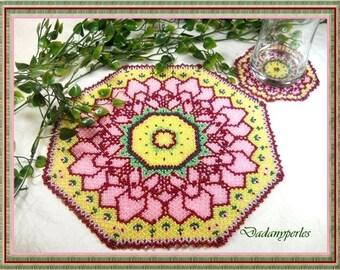 pattern bead weaving doily and coaster fleurette