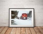 Train Winter Scenery Art, Color Colour Photography, Winter scenery photography, Canada Trees, Agawa Canyon,  Snow scenery Art Print, CN Rail