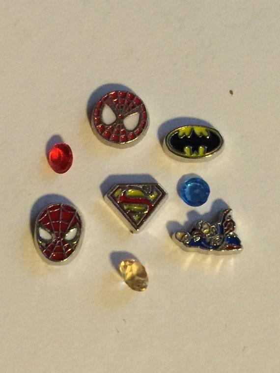 superheros floating charm set by jewelryandstuffbylis on etsy