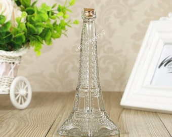 1pieces 50ML 155*55*13mm  wishing bottle  Eiffel Tower bottle Glass bottle with corks