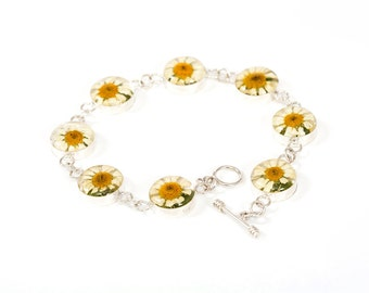 Real Daisy Flower Bracelet Silver 925 Flowers in Resin