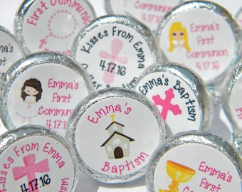 First Communion Favors - Personalized First Communion Favors - Personalized Confirmation Hershey Kisses Favors - Hershey Kiss Stickers