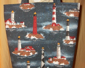 Large Tote Bag - Lighthouse Tote Bag - Lined Tote - Beach Bag - Large Project Tote - Market/Book Bag