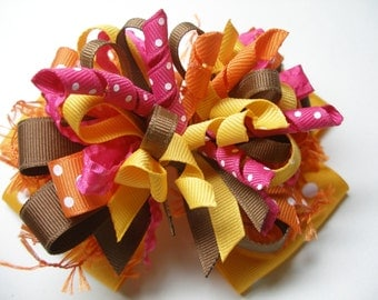 Deluxe Over the Top Hair Bow Unique Big Boutique Toddler Girl  Large in Bright Fall Colors