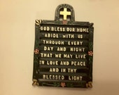 Vintage Antique 1960 black iron trivet God bless our home abide with us through every day and night that we may live in love and peace and