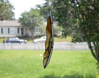 Brown Amber Green Art Glass Feather Suncatcher