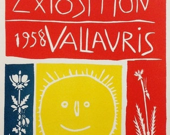 "Picasso 95 ""Exposition Vallaris 1958""   printed 1959 Mourlot Art in posters"