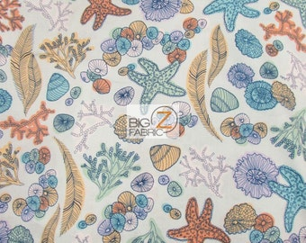 100% Cotton Fabric By Windham Fabrics - Tidal Lace Ocean Life - Sold By The Yard (FH-2406)