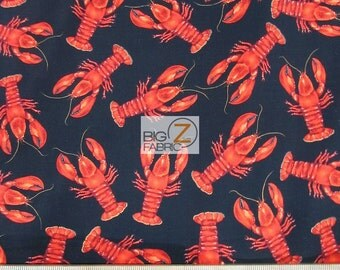Lobster Print Fabric Etsy