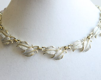 Vintage Silver Leaf Necklace, Retro Costume Jewelry, Designer Signed, Circa 1960's