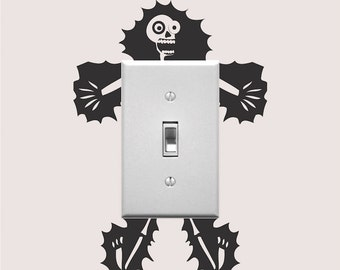 Electrocuted Guy Outlet Decal Sticker, Funny Wall Decal, Light Switch Art, Outlet Sticker, Cartoon Electrocution Light Switch Sticker, a88