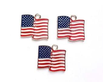 3 American Flag Charms - 21-37-9