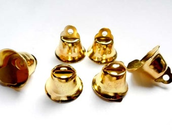 8 Gold Bell Charms - 21-TOP