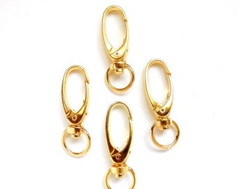 4 Gold Plated Trigger Snap Hook Lobster Swivel Clasps - 16-SC-2
