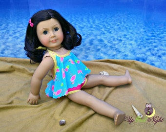 """Flamingo  Bathing Suit Swimsuit fits 18"""" Girl Dolls American Made"""