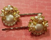 Faux Pearl and Bead Hair Pins Upcycled Vintage Earrings
