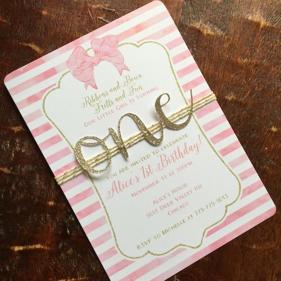 First Birthday Invitation. Baby Girl First Birthday