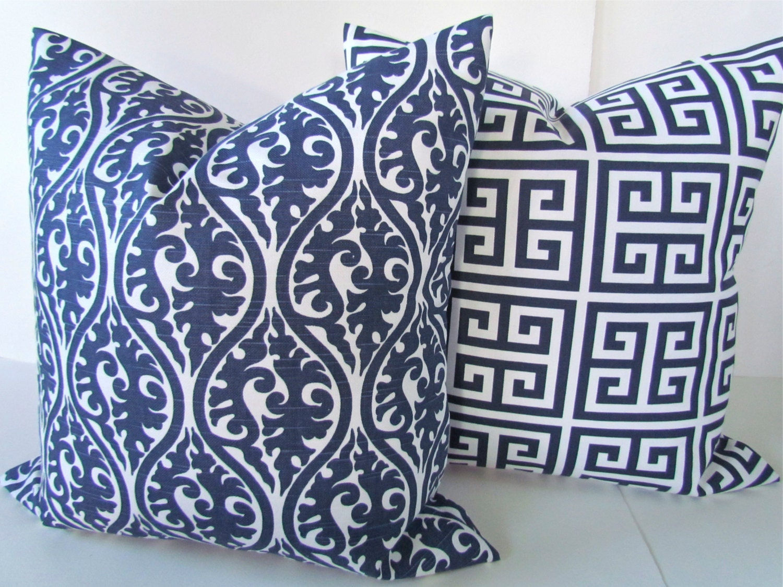 Navy Blue Decorative Bed Pillows: BLUE THROW PILLOWS Navy Blue Pillow Covers By SayItWithPillows