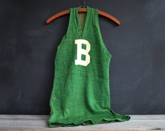 1920's Vintage Mens Basketball Jersey | Rare Early Basketball Uniform | Antique Sports Collectible | Green Wool Tank Top Jersey