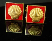 10kt gold filled shell cufflinks Vintage Sea nautical Cuff links Red enamel  gold Advertising oil company mens Birthday Signed AI