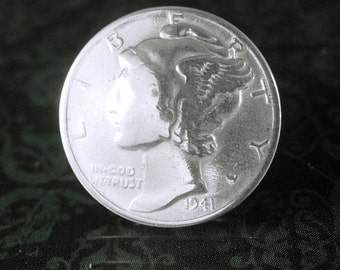 Liberty Head Coin Tie tack Vintage Silver 1941 Mercury Dime Coin Cuff Jewelry Birthday Special occasion rememberance