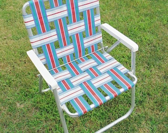Vintage webbed lawnchair- Red white & blue