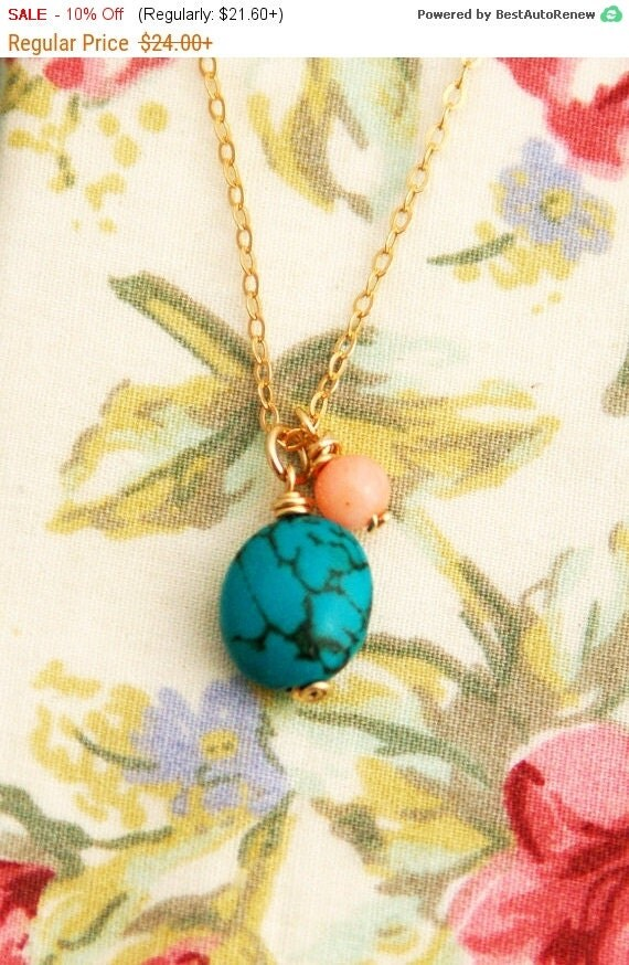 Simple Turquoise necklace, chunky turquoise and coral necklace, gold necklace, wire wrapped necklace, simple necklace gold