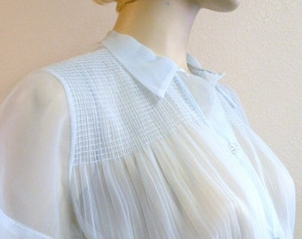 1950s Baby Blue Nylon Blouse with Lucite Buttons M