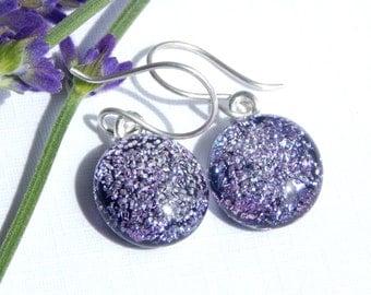 Silver Mauve Dichroic Glass Dangle Earrings on 925 Sterling Silver Earwires, Fused Glass Jewelry, Purple Art Glass Drop Earrings