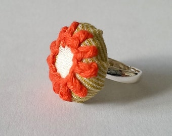 Orange Flower Hand Stitched Ring, Embroidered Orange Flower Jewellery, Green Fabric Silver Ring