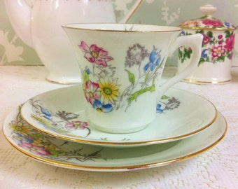 Hand painted Pastel Flower Tea Trio