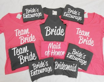 10 bachelorette party t-shirts, bride, bridesmaid, maid of honor, matron of honor, 10 Bachelorette v-neck t-shirts, 10 Team Bride Tees