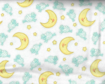 Counting Sheep flannel fabric - sheep and moons stars white blue yellow  - AE Nathan - by the YARD