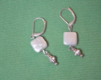 ON SALE   Pair of Earrings for Pierced Ears with a White Mother of Pearl Square